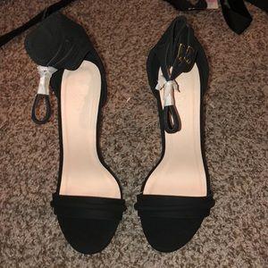 Black Suede Open Toed Heel! NEVER Worn! Size 9!